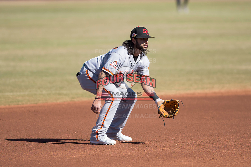 Scottsdale Scorpions third baseman C.J. Hinojosa (8), of the San Francisco Giants organization, during an Arizona Fall League game against the Peoria Javelinas at Peoria Sports Complex on November 15, 2018 in Mesa, Arizona. Peoria defeated Scottsdale 2-1. (Zachary Lucy/Four Seam Images)