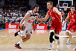 Real Madrid's Sergio Llull and Crvena Zvezda Mts Belgrade's Nate Wolters during Turkish Airlines Euroleague match between Real Madrid and Crvena Zvezda Mts Belgrade at Wizink Center in Madrid, Spain. March 10, 2017. (ALTERPHOTOS/BorjaB.Hojas)