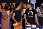 Queen Letizia of Spain with Pedro Daniel Pajares (r) and Ana Peiró (l) winners of the Final of the Spanish edition of 2017 of the contest of scientific monologues 'Famelab'. May 24 ,2017. (ALTERPHOTOS/Pool)