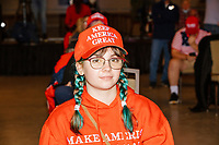 Charlotte Quigley, 16, of Manchester, NH, wearing Donald Trump campaign clothing while waiting before Donald Trump, Jr., the son of US president Donald Trump, speaks at a 'Make America Great Again!' campaign rally at DoubleTree by Hilton MHT in Manchester, New Hampshire, on Thu., Oct. 29, 2020. The event took place five days before the Nov. 3 presidential election.
