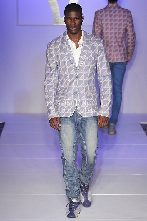 Model walks runway in an outfit from the AMIAT Spring Summer 2016 collection at Fashion Gallery NYFW Spring Summer 2016 show, during New York Fashion Week.