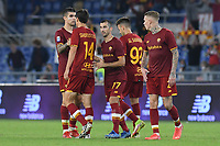 23rd September 2021;  Stadio Olimpicom, Roma, Italy; Serie A League Football, Roma versus Udinese; Roma player's celebrate the victory at the end of the match