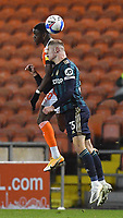 Blackpool's Beryly Lubala battles with Leeds United's Liam McCarron<br /> <br /> Photographer Dave Howarth/CameraSport<br /> <br /> EFL Trophy - Northern Section - Group G - Blackpool v Leeds United U21 - Wednesday 11th November 2020 - Bloomfield Road - Blackpool<br />  <br /> World Copyright © 2020 CameraSport. All rights reserved. 43 Linden Ave. Countesthorpe. Leicester. England. LE8 5PG - Tel: +44 (0) 116 277 4147 - admin@camerasport.com - www.camerasport.com