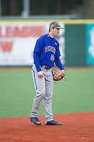 Seton Hall Pirates shortstop D.J. Ruhlman (34) on defense against the Virginia Cavaliers at The Ripken Experience on February 28, 2015 in Myrtle Beach, South Carolina.  The Cavaliers defeated the Pirates 4-1.  (Brian Westerholt/Four Seam Images)