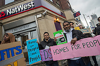 The London Renters Union protest outside Nat West Bank in Newham after it was revealed that the bank was making customers wanting a 'buy-to-let' mortgage sign an agreement not to rent to people on benefits. Newham has one of the most chronic housing shortages in London. 24-11-18