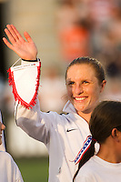 Rachel Buehler (19) of the United States (USA) is introduced prior to playing China PR (CHN). The United States (USA) women defeated China PR (CHN) 4-1 during an international friendly at PPL Park in Chester, PA, on May 27, 2012.
