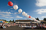 Paper lanterns decorate the site of the Obon Festival at Oregon Buddhist Temple, Portland, Oregon
