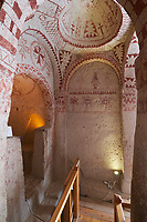 Frescoes with Maltese crosses in St. Barbara church chapel in Goreme Open Air museum, Cappadocia, Turkey