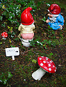 29/05/15<br /> <br /> Naughty ladies show their bottoms..<br /> <br /> For one group of hardy folk, today's rain only adds to the fun that can be had by the beach, fishing in the river, or playing in the woods.<br /> <br /> The gnomes, and a few pixies and fairies, make up a collection, now believed to be close to 2,000 individuals, that 'live' at the Gnome Reserve near Bideford, North Devon.<br /> <br /> Visitors are asked to wear gnome hats, so as not to scare the gnomes who feature as the largest collection in the Guinness Book of World Records. <br /> <br /> Ann Atkin's collection began in 1979 and features traditional gnomes on toad-stools to Olympian athletes, astronauts who work for 'GNASA', a beach scene complete with gnomes in bikinis, a queue for the ice-cream van, Punch and Judy gnomes and another floating on a lilo. Other gnomes can be scene kissing, and flashing their bottoms as the visit the Gents and Ladies toilets. <br /> <br /> <br /> All Rights Reserved - F Stop Press.  www.fstoppress.com. Tel: +44 (0)1335 418629 +44(0)7765 242650