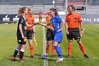 Tiana Andries (11) of Eendracht Aalst , assistant referee Heidi Houtthave , referee Irmgard van Meirvenne , Sien Vandersanden (10) of KRC Genk , assistant referee Stijn Mertens pictured before a female soccer game between Eendracht Aalst and Racing Genk on the 10 th and last matchday of play off 2 of the 2020 - 2021 season of Belgian Scooore Womens Super League , Saturday 29 st of May 2021  in Aalst , Belgium . PHOTO SPORTPIX.BE | SPP | STIJN AUDOOREN
