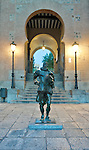 Europe, Spain, Toledo, Gate to Zocodover Square (Plaza Zocodover) at Dawn