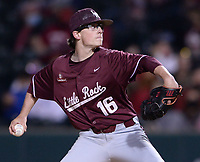 UALR reliever Jacob Weatherley delivers to the plate Tuesday, April 6, 2021, during the sixth inning of play against Arkansas at Baum-Walker Stadium in Fayetteville. Visit nwaonline.com/210407Daily/ for today's photo gallery. <br /> (NWA Democrat-Gazette/Andy Shupe)