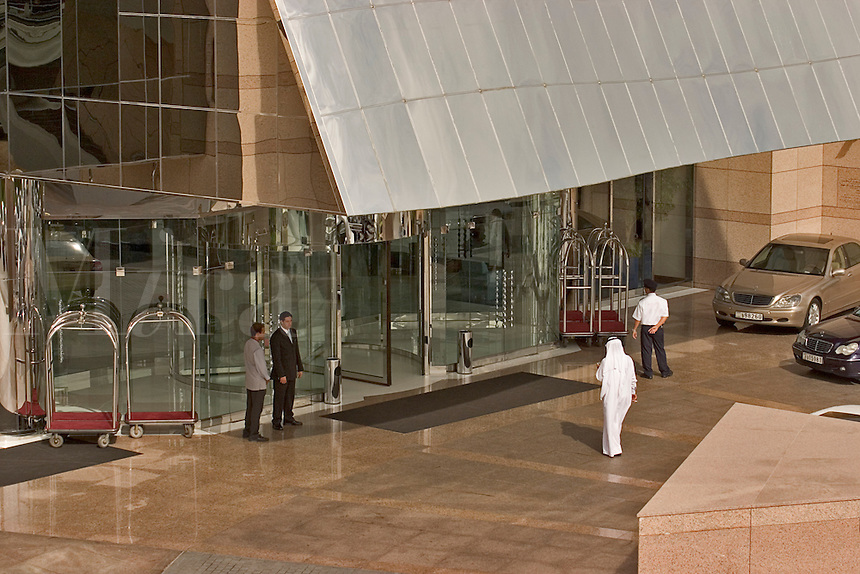 United Arab Emirates.  Entrance to Fairmont Hotel on Sheikh Zayed Road/Abu Dhabi Road.  Business and convention hotel..