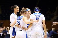 DURHAM, NC - NOVEMBER 29: Haley Gorecki #2 of Duke University huddles with her teammates during a game between Penn and Duke at Cameron Indoor Stadium on November 29, 2019 in Durham, North Carolina.