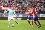 Atletico de Madrid's Filipe Luis, Griezmann and Koke and Celta de Vigo's P. Hernandez during La Liga Match at Vicente Calderon Stadium in Madrid. May 14, 2016. (ALTERPHOTOS/BorjaB.Hojas)