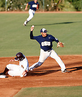 Juan Martinez of Oral Roberts playing against Kent State in the Tempe Regionals at Packard Stadium, Tempe, AZ - 05/31/2009. Martinez completes a crucial inning ending double play to help preserve the victory..Photo by:  Bill Mitchell/Four Seam Images