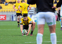 Hurricanes' Jackson Garden-Bachop prepares to kick for goal during the Super Rugby Aotearoa match between the Hurricanes and Crusaders at Sky Stadium in Wellington, New Zealand on Saturday, 21 June 2020. Photo: Dave Lintott / lintottphoto.co.nz