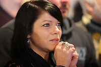 Pictured: A woman watches the race on tv at Cresselly Arms pub in Cresswell Quay, Pembrokeshire, Wales, UK. Thursday 16 March 2017<br /> Re: A racehorse owned by a syndicate from Pembrokeshire which was a favourite to win at this year's Cheltenham Festival, has lost.<br /> Tobefair, a seven-year-old gelding, has won his last seven races.<br /> He was gifted as a colt to Michael Cole three years ago, in return for looking after two fillies on his farm.<br /> Unable to afford the training costs on his own, he decided to offer 50% of the ownership to people he knew through his local pub, the Cresselly Arms at Cresswell Quay Quay.<br /> The syndicate grew to 17 members but none except Mr Cole had owned a racehorse before.<br /> They said they were amazed when Tobefair started winning races and never dreamed he would make it to Cheltenham.