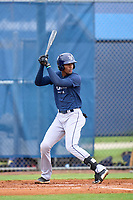 Tampa Bay Rays Willy Vasquez bats during an Extended Spring Training intrasquad game on June 15, 2021 at Charlotte Sports Park in Port Charlotte, Florida.  (Mike Janes/Four Seam Images)