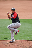 World Team pitcher Frankie Montas (47) in action during the MLB All-Star Futures Game on July 12, 2015 at Great American Ball Park in Cincinnati, Ohio.  (Mike Janes/Four Seam Images)