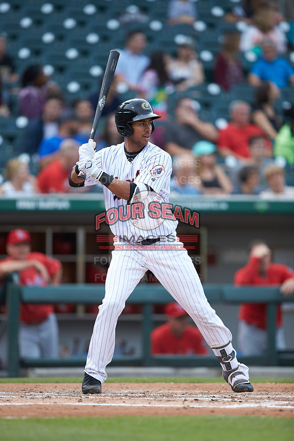 Jacob Scavuzzo (20) of the Charlotte Hornets at bat against the Louisville Bats at BB&T BallPark on June 22, 2019 in Charlotte, North Carolina. The Hornets defeated the Bats 7-6. (Brian Westerholt/Four Seam Images)