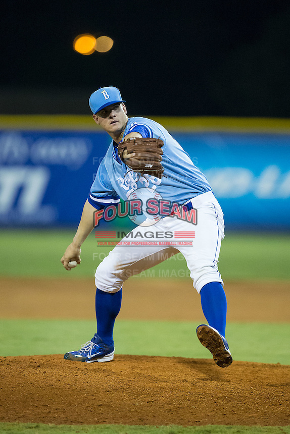 Burlington Royals relief pitcher Chase Darhower (28) in action against the Pulaski Yankees at Burlington Athletic Park on August 6, 2015 in Burlington, North Carolina.  The Royals defeated the Yankees 1-0. (Brian Westerholt/Four Seam Images)