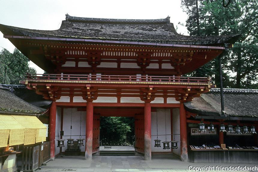 Nara: South Gate, Kasuga Shrine. Photo '81.