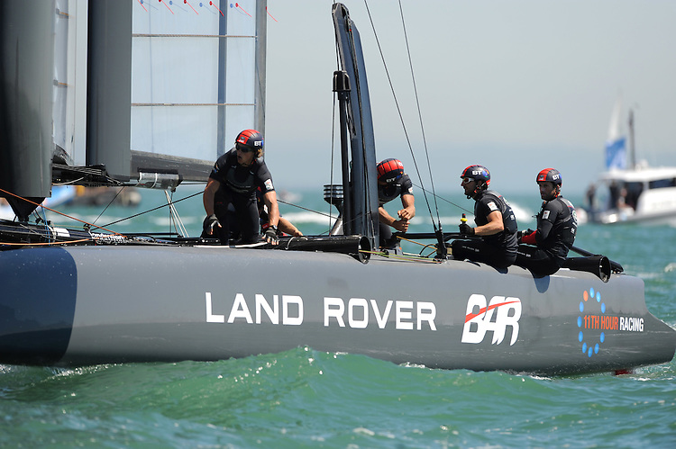 Sir Ben Ainslie (GBR), JULY 23, 2016 - Sailing: Sir Ben Ainslie (GBR) and Land Rover BAR in action during day one of the Louis Vuitton America's Cup World Series racing, Portsmouth, United Kingdom. (Photo by Rob Munro/Stewart Communications)