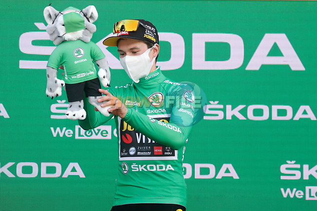 Primoz Poglic (SLO) Team Jumbo-Visma wins Stage 10 and retains the points Green Jersey of the Vuelta Espana 2020 running 187.4km from Castro Urdiales to Suances, Spain. 30th October 2020.    <br /> Picture: Luis Angel Gomez/PhotoSportGomez | Cyclefile<br /> <br /> All photos usage must carry mandatory copyright credit (© Cyclefile | Luis Angel Gomez/PhotoSportGomez)