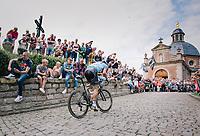 2nd passage Kapelmuur (muur van Geraardsbergen): a very strong world champion Peter Sagan (SVK/Bora Hansgrohe) is the first one up the infamous climb <br /> <br /> Binckbank Tour 2017 (UCI World Tour)<br /> Stage 7: Essen (BE) > Geraardsbergen (BE) 191km
