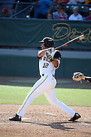 Joey Sanchez (12) of the Long Beach State Dirtbags bats against the Arizona State Sun Devils at Blair Field on February 27, 2016 in Long Beach, California. Long Beach State defeated Arizona State, 5-2. (Larry Goren/Four Seam Images)