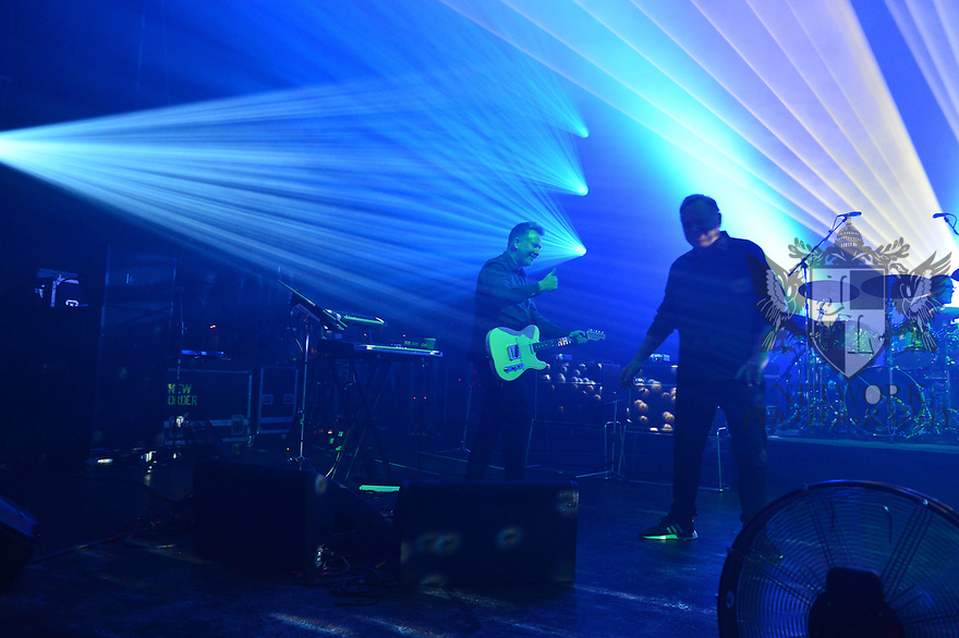 MIAMI BEACH, FLORIDA - JANUARY 18: Phil Cunningham, Bernard Sumner and Stephen Morris of New Order perform on stage at the Fillmore Miami Beach at the Jackie Gleason Theater on January 18, 2020 in Miami Beach, Florida.  ( Photo by Johnny Louis / jlnphotography.com )