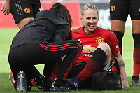 Leah Galton (Manchester United Women) eives treatment during the English Womens Championship match between Manchester United Women and Leicester City Women at Leigh Sports Village, Leigh, England on 10 March 2019. Photo by James Gill / PRiME Media Images.