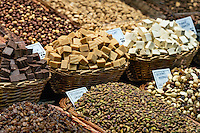 Market display of nuts and candy, La Boqueria marke, Barcelona, Spain
