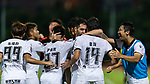 Arkaitz Ruiz De Miguel (R2) of Dreams FC celebrates with his teammates after scoring his goal during the Dreams FC vs Wofoo Tai Po match of the week one Premier League match at the Aberdeen Sports Ground on 26 August 2017 in Hong Kong, China. Photo by Yu Chun Christopher Wong / Power Sport Images