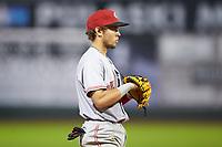 Greeneville Reds third baseman Claudio Finol (4) on defense against the Pulaski Yankees at Calfee Park on June 23, 2018 in Pulaski, Virginia. The Reds defeated the Yankees 6-5.  (Brian Westerholt/Four Seam Images)