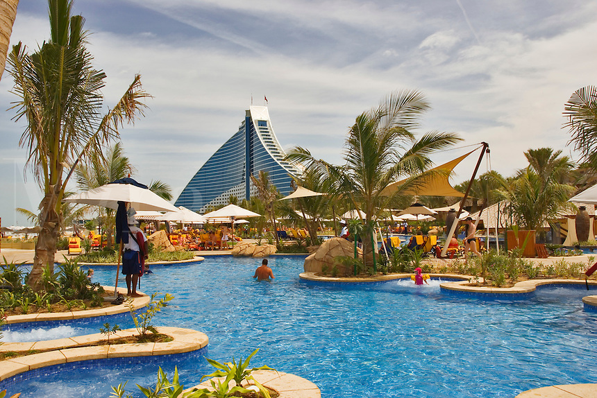 Swimming pool and recreation area at Jumeirah Beach Hotel.  Dubai. United Arab Emirates.