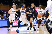 DURHAM, NC - JANUARY 16: Katlyn Gilbert #10 of Notre Dame University is chased by Kyra Lambert #15 of Duke University during a game between Notre Dame and Duke at Cameron Indoor Stadium on January 16, 2020 in Durham, North Carolina.