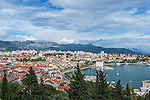 Croatia, Split, Split Harbor and Old Town Viewed from Marjan Peninsula
