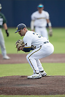 Michigan Wolverines pitcher Joe Pace (32) on the mound against the Michigan State Spartans on March 22, 2021 in NCAA baseball action at Ray Fisher Stadium in Ann Arbor, Michigan. Michigan State beat the Wolverines 3-0. (Andrew Woolley/Four Seam Images)