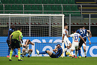 Calcio, Serie A: Inter Milano - Atalanta, Giuseppe Meazza (San Siro) stadium, in Milan, March 8, 2021.  <br /> Inter's Milan Skriniar (L) scores during the Italian Serie A football match between Inter and Atalanta at Giuseppe Meazza (San Siro) stadium, on  March 8, 2021.  <br /> UPDATE IMAGES PRESS/Isabella Bonotto