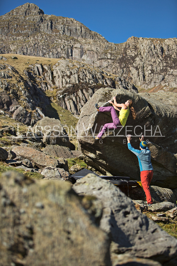 Bouldering session at Llanberis Pass, North Wales, United Kingdom