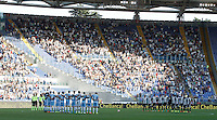 Calcio, Serie A: Lazio vs Juventus. Roma, stadio Olimpico, 27 agosto 2016.<br /> Lazio and Juventus players observe a minute of silence in  memory of the victims of the earthquake that hit central Italy on early August 24, 2016, prior to the start of  the Serie A soccer match at Rome's Olympic stadium, 27 August 2016. Juventus won 1-0.<br /> UPDATE IMAGES PRESS/Isabella Bonotto