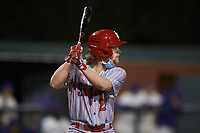Marty Higgins (27) of the St. John's Red Storm pinch-hits during the game against the Western Carolina Catamounts at Childress Field on March 13, 2021 in Cullowhee, North Carolina. (Brian Westerholt/Four Seam Images)