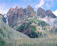 The pinnalcles of Sievers Mountain in late Autumn above Maroon Lake, near Aspen, Colorado.