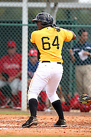Pittsburgh Pirates outfielder Carlos Mesa #64 during an Instructional League game against the Philadelphia Phillies at Pirate City on October 11, 2011 in Bradenton, Florida.  (Mike Janes/Four Seam Images)