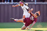 Texas A&M forward Bianca Brinson (22) and South Carolina midfield/defender Taylor Leach (24) gets tangled during NCAA soccer game, Sunday, October 26, 2014 in College Station, Tex. South Carolina draw 2-2 against Texas A&M in double overtime. (Mo Khursheed/TFV Media via AP Images)
