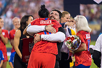CHARLOTTE, NC - OCTOBER 3: Ali Krieger #11 of the United States celebrates her 100th cap with her brother Kyle Krieger during a game between Korea Republic and USWNT at Bank of America Stadium on October 3, 2019 in Charlotte, North Carolina.