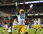 Green Bay Packers tight end Jermichael Finley celebrates what he thinks is a touchdown catch against Chicago Bears at Soldier Field on Monday, Sept. 27, 2010.  However, the play was nullified due to a holding call on tackle Mark Tauscher.