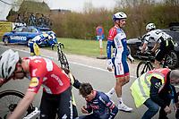 Adrien Petit (FRA/Total Direct Energie) was involved in a crash with about 100km to go<br /> <br /> 105th Ronde van Vlaanderen 2021 (MEN1.UWT)<br /> <br /> 1 day race from Antwerp to Oudenaarde (BEL/264km) <br /> <br /> ©kramon